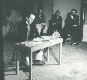 Frank O'Hara reading with Ray Bremser, LeRoi Jones, Allen Ginsberg (The Living Theater)